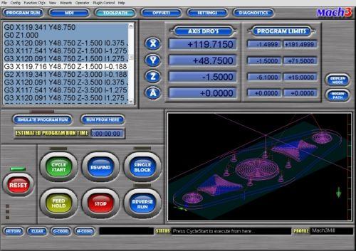 Перемещение инструмента (TOOLPATH) Mach3