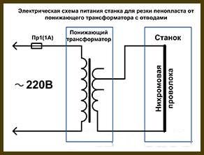 Схема станка для резки пенопласта с использованием понижающего трансформатора с отводами вторичной обмоткой (№3)