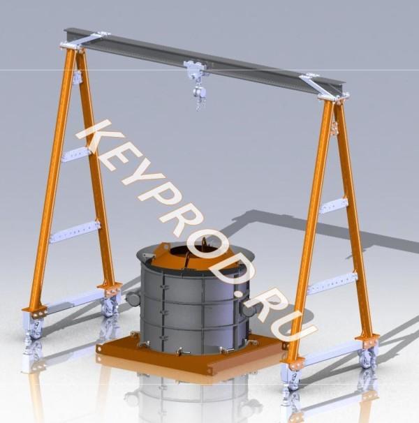 Форма для железобетонных колец +кран