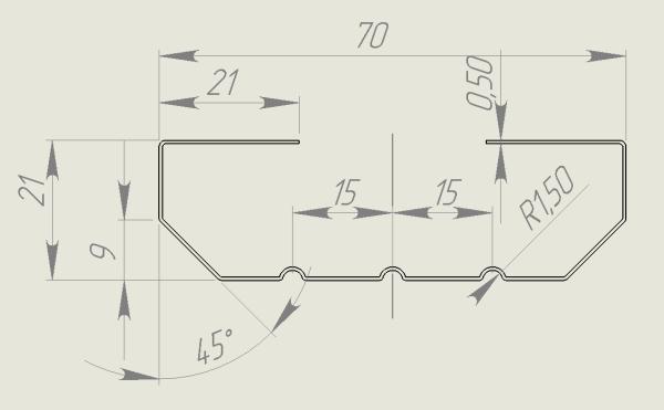 евроштакетник 70х21 чертеж