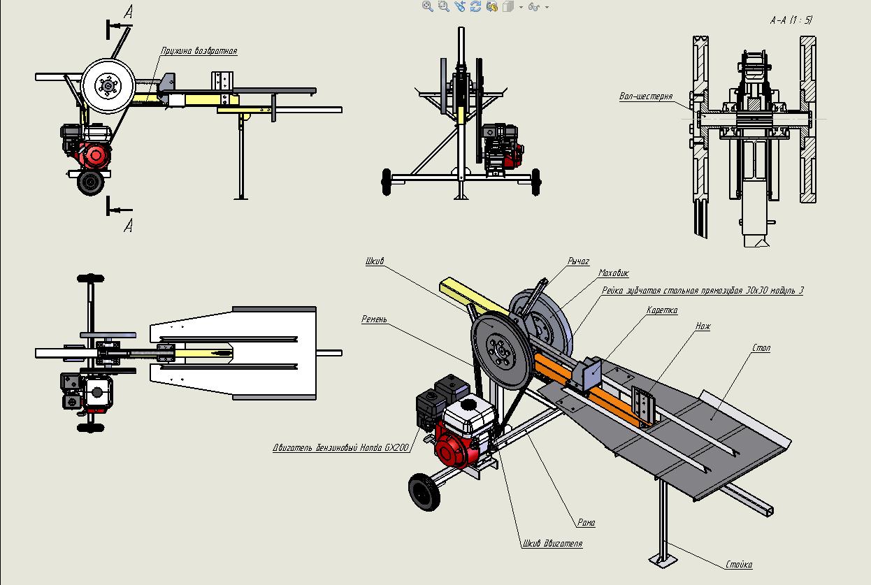 Устройство реечного дровокола