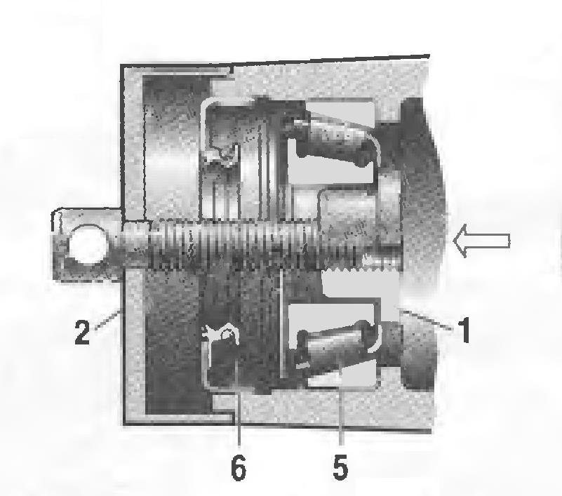 Выпрессовка внутреннего кольца (а) и всего переднего подшипника
