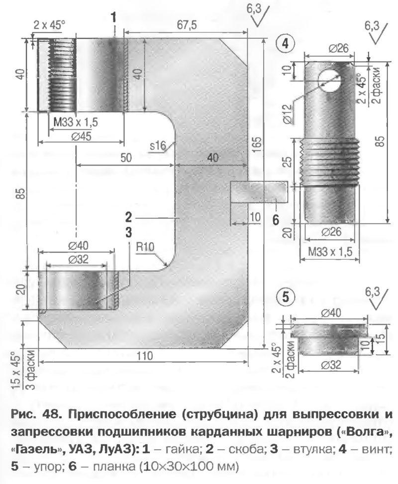 Приспособление (струбцина) для выпрессовки и запрессовки подшипников карданных шарниров