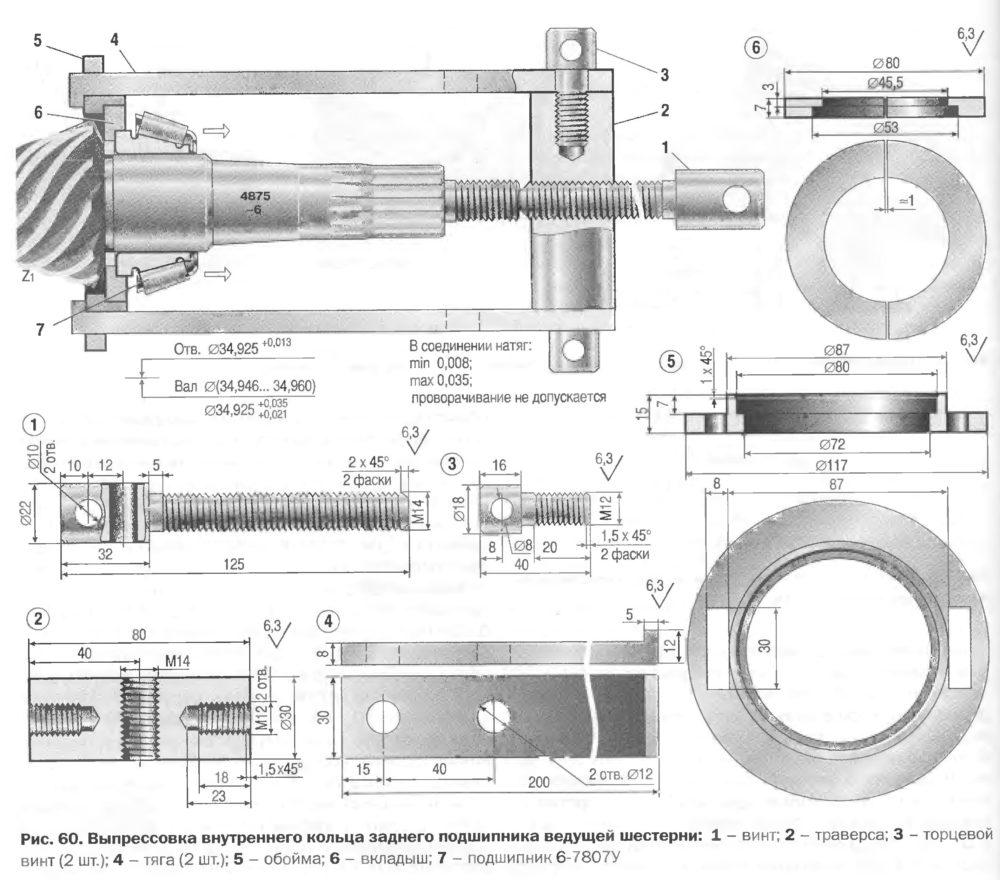 Выпрессовка внутреннего кольца заднего подшипника ведущей шестерни
