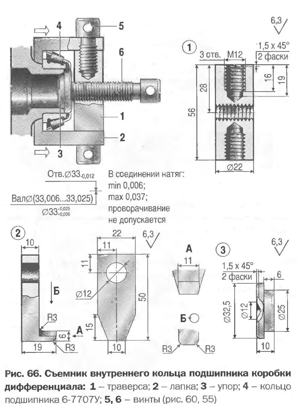 Съемник внутреннего кольца подшипника коробки дифференциала