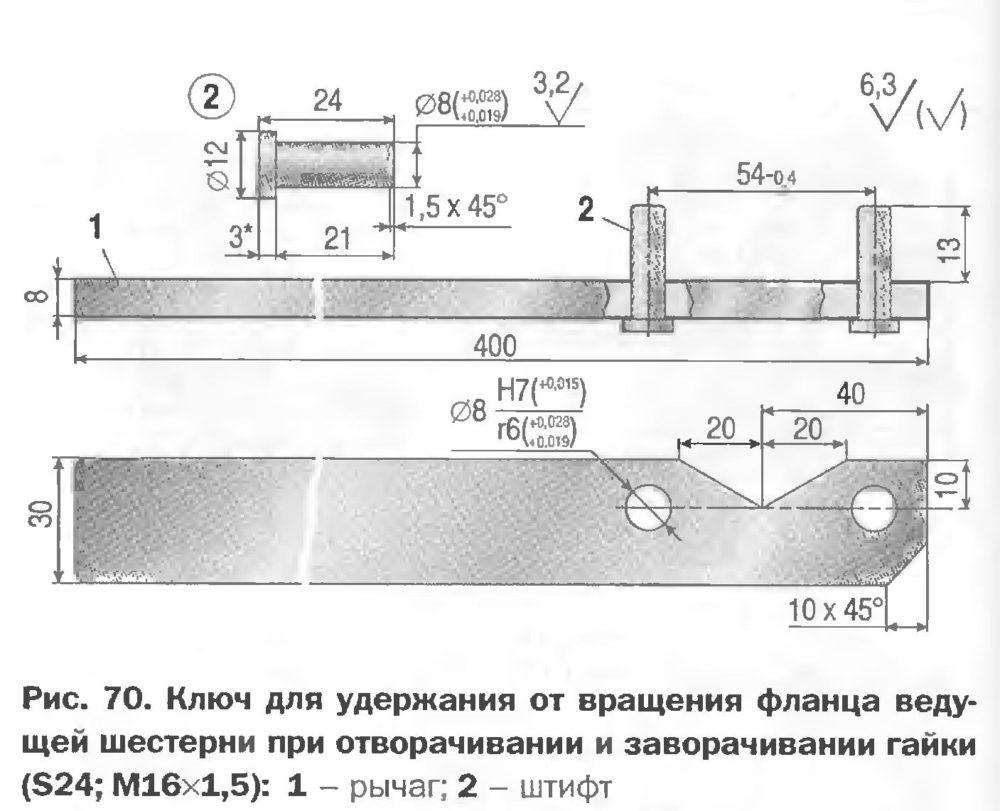 Ключ для удержания от вращения фланца ведущей шестерни при отворачивании и заворачивании гайки