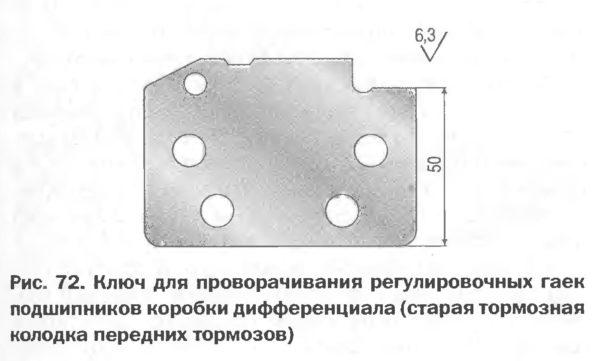 Ключ для проворачивания регулировочных гаек подшипников коробки дифференциала