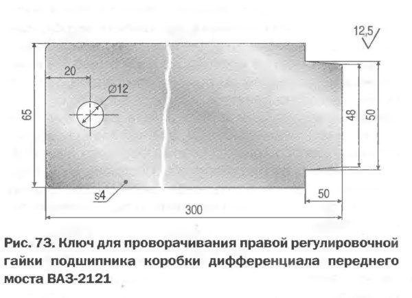 Ключ для проворачивания правой регулировочной гайки подшипника коробки дифференциала переднего моста ВАЗ-2121